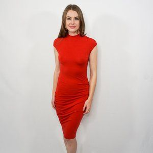 HELMUT LANG Red Ruched Knit Cap-Sleeve Dress